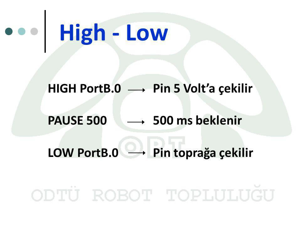 High - Low HIGH PortB.0 Pin 5 Volt'a çekilir PAUSE 500 500 ms beklenir