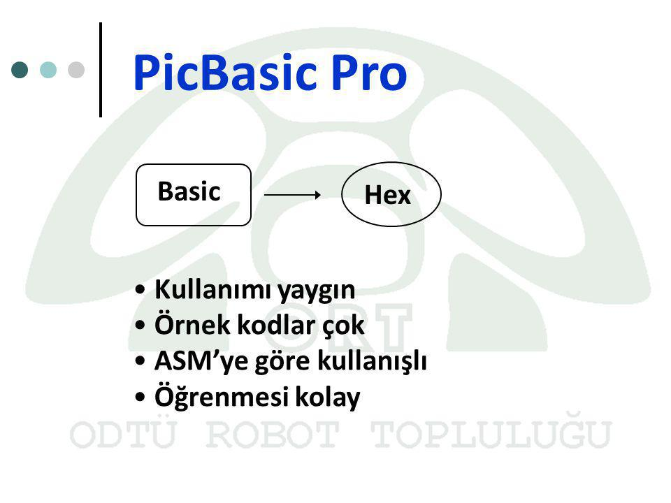 PicBasic Pro Basic Hex Kullanımı yaygın Örnek kodlar çok