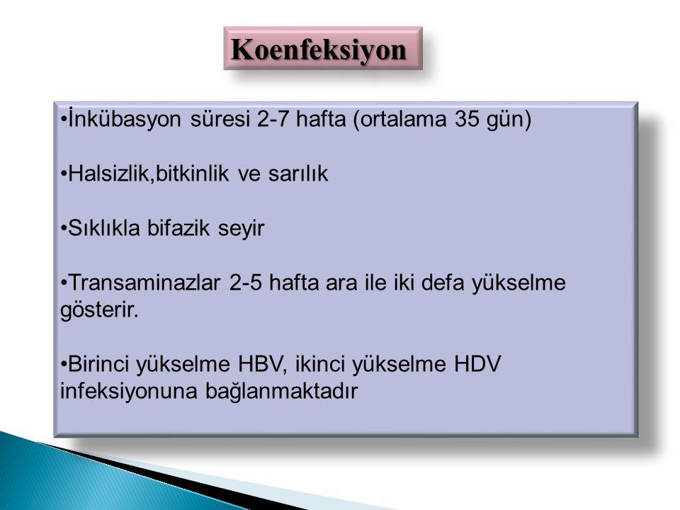 Koenfeksiyon İnkübasyon süresi 2-7 hafta (ortalama 35 gün)