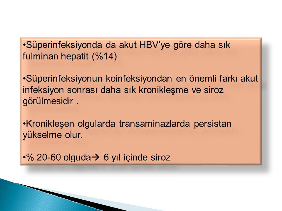 Süperinfeksiyonda da akut HBV'ye göre daha sık fulminan hepatit (%14)