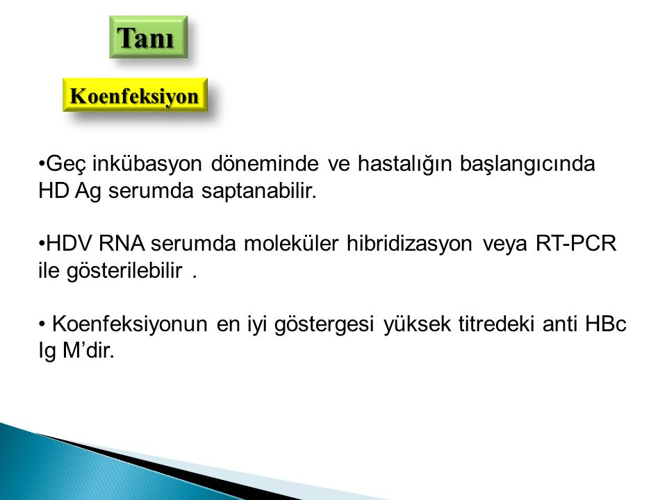 Tanı Koenfeksiyon. Geç inkübasyon döneminde ve hastalığın başlangıcında HD Ag serumda saptanabilir.