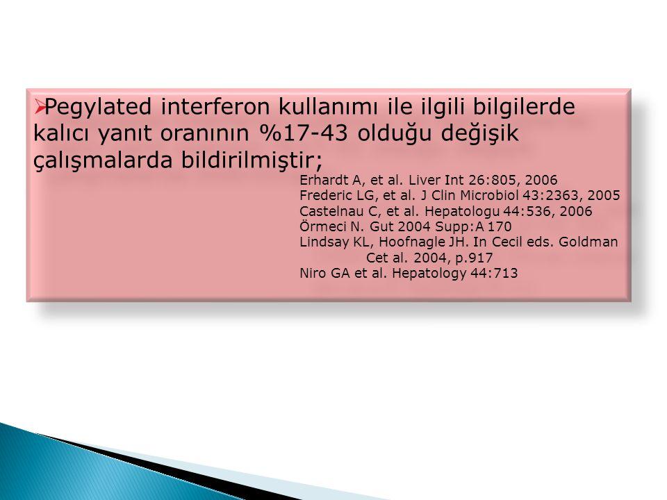 Pegylated interferon kullanımı ile ilgili bilgilerde kalıcı yanıt oranının %17-43 olduğu değişik çalışmalarda bildirilmiştir;