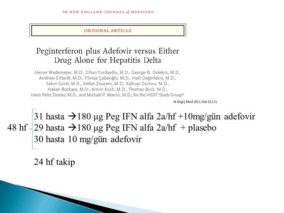 31 hasta 180 μg Peg IFN alfa 2a/hf +10mg/gün adefovir