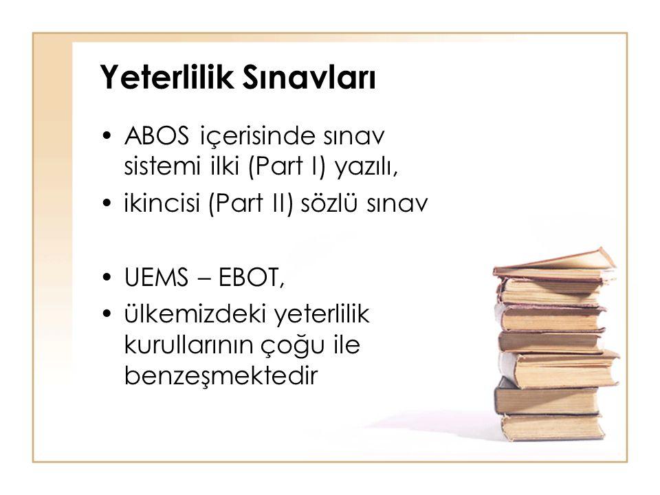 Yeterlilik Sınavları ABOS içerisinde sınav sistemi ilki (Part I) yazılı, ikincisi (Part II) sözlü sınav.