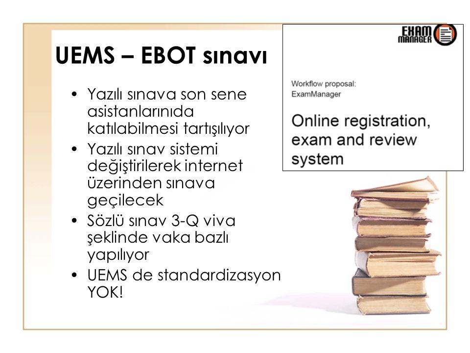 UEMS – EBOT sınavı Yazılı sınava son sene asistanlarınıda katılabilmesi tartışılıyor.