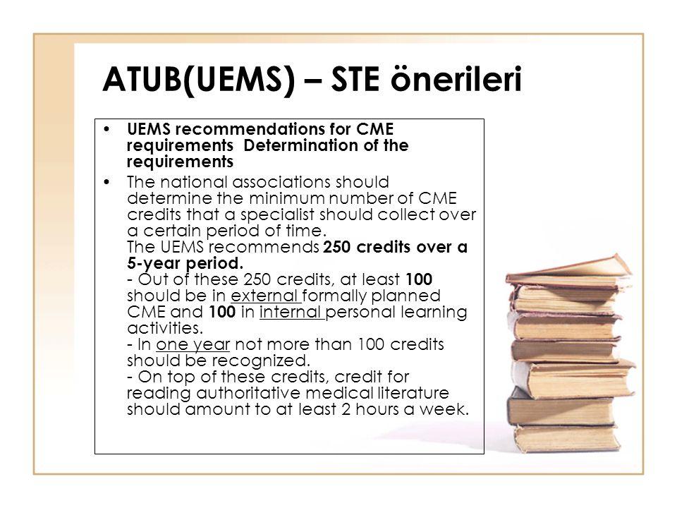 ATUB(UEMS) – STE önerileri