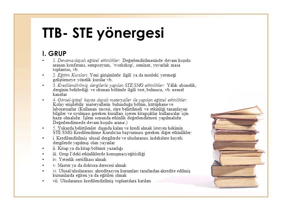 TTB- STE yönergesi I. GRUP