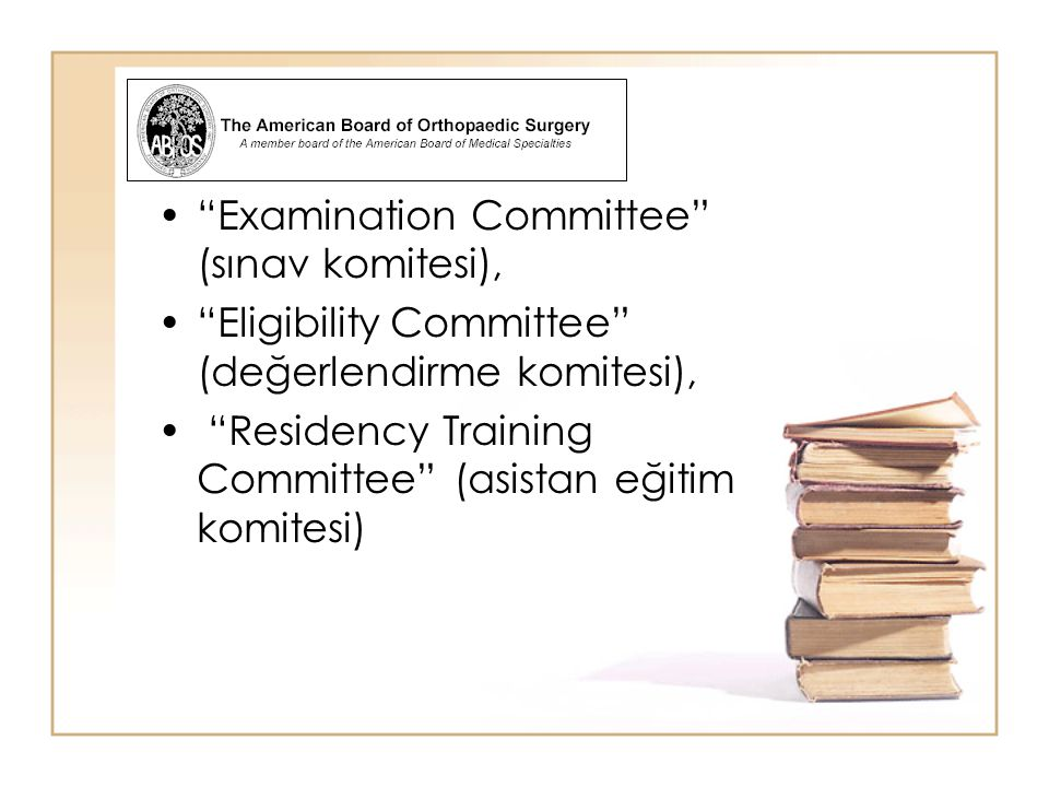 Examination Committee (sınav komitesi),