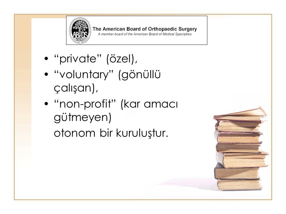 private (özel), voluntary (gönüllü çalışan), non-profit (kar amacı gütmeyen) otonom bir kuruluştur.