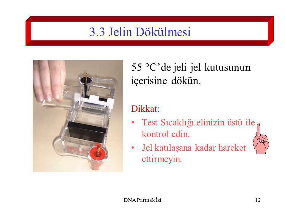 3.3 Jelin Dökülmesi 55 °C'de jeli jel kutusunun içerisine dökün.