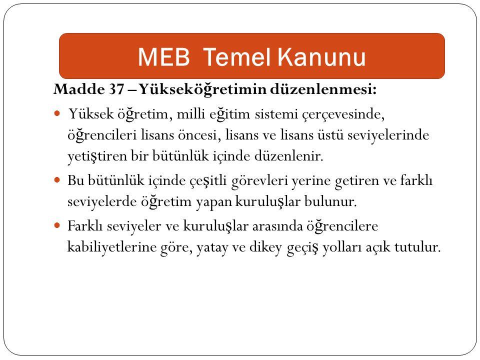 MEB Temel Kanunu Madde 37 – Yükseköğretimin düzenlenmesi: