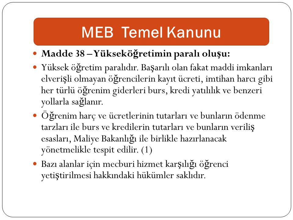 MEB Temel Kanunu Madde 38 – Yükseköğretimin paralı oluşu: