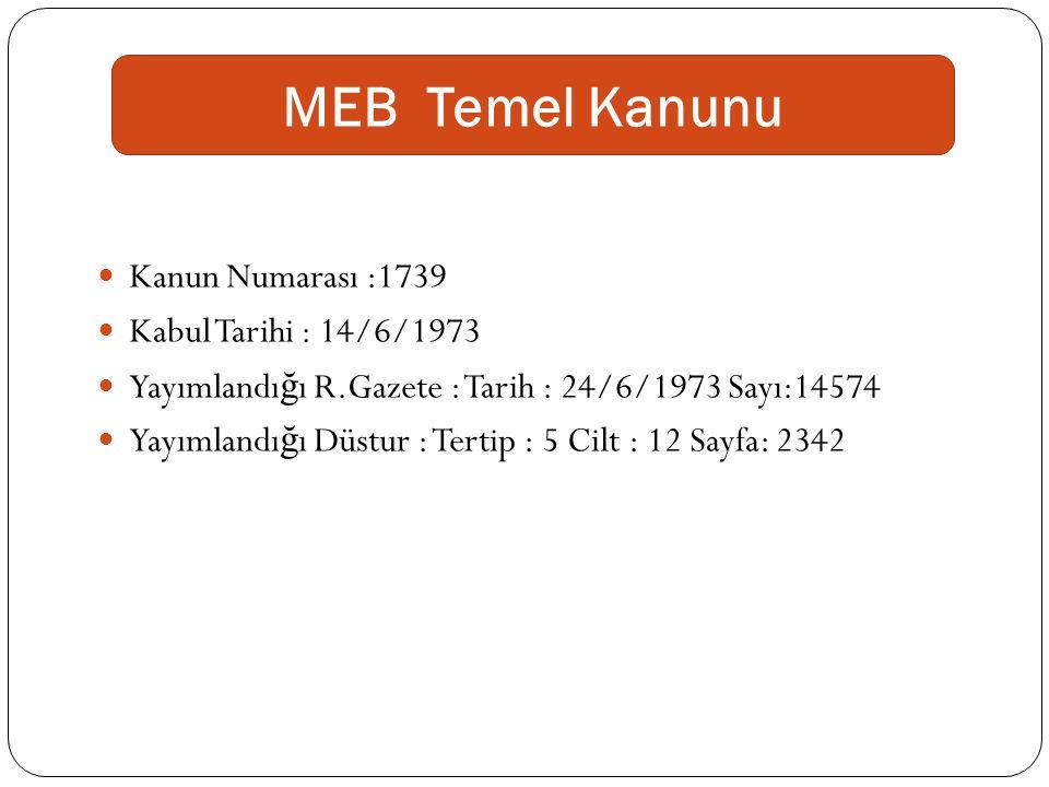 MEB Temel Kanunu Kanun Numarası :1739 Kabul Tarihi : 14/6/1973