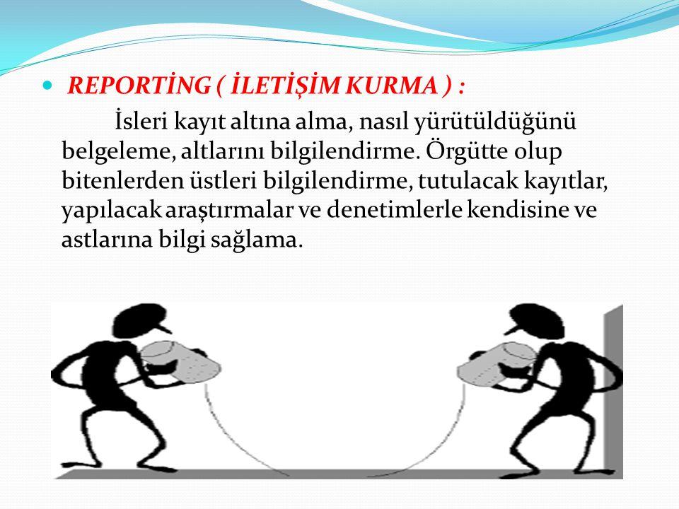 REPORTİNG ( İLETİŞİM KURMA ) :