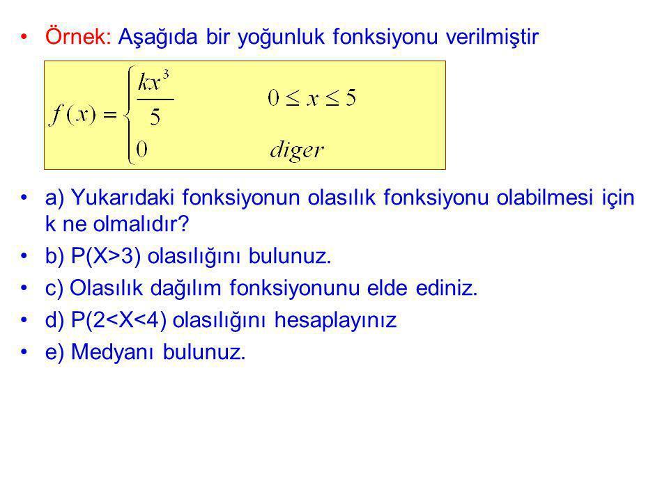 Örnek: Aşağıda bir yoğunluk fonksiyonu verilmiştir