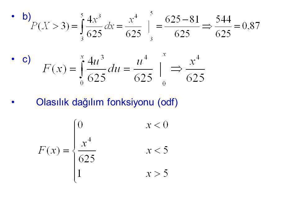 b) c) Olasılık dağılım fonksiyonu (odf)