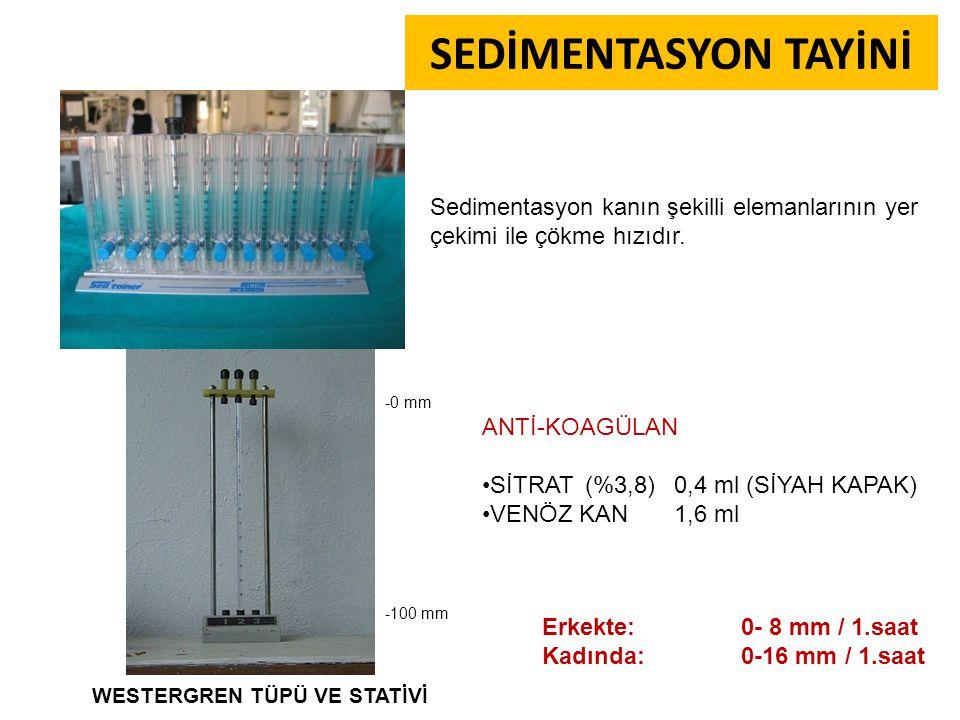 SEDİMENTASYON TAYİNİ Sedimentasyon kanın şekilli elemanlarının yer çekimi ile çökme hızıdır. -0 mm.