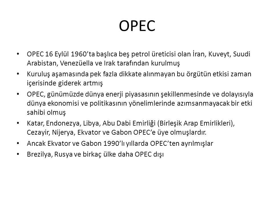 OPEC OPEC 16 Eylül 1960'ta başlıca beş petrol üreticisi olan İran, Kuveyt, Suudi Arabistan, Venezüella ve Irak tarafından kurulmuş.