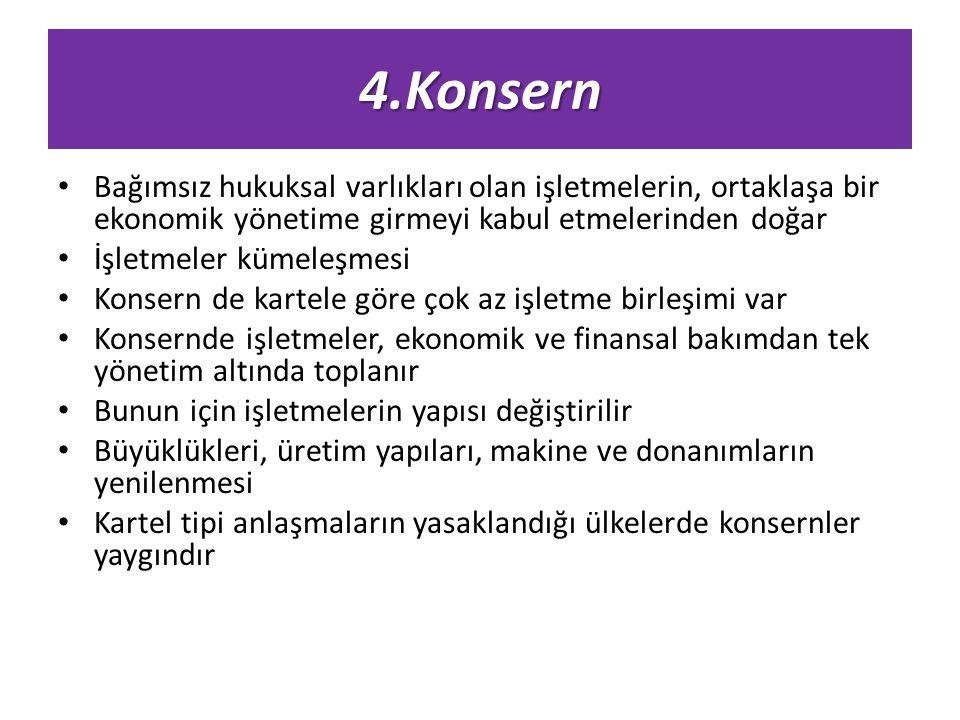 4.Konsern Bağımsız hukuksal varlıkları olan işletmelerin, ortaklaşa bir ekonomik yönetime girmeyi kabul etmelerinden doğar.