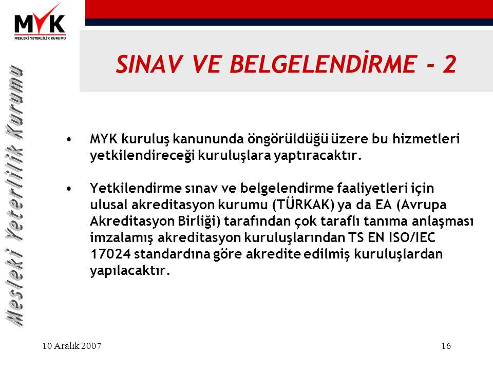 SINAV VE BELGELENDİRME - 2