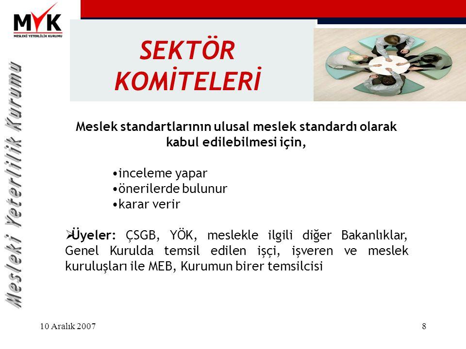 SEKTÖR KOMİTELERİ Meslek standartlarının ulusal meslek standardı olarak kabul edilebilmesi için, inceleme yapar.
