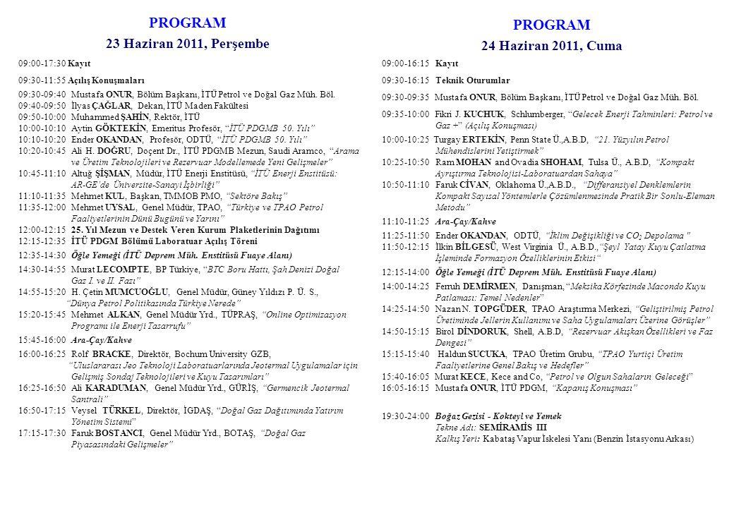 PROGRAM PROGRAM 23 Haziran 2011, Perşembe 24 Haziran 2011, Cuma