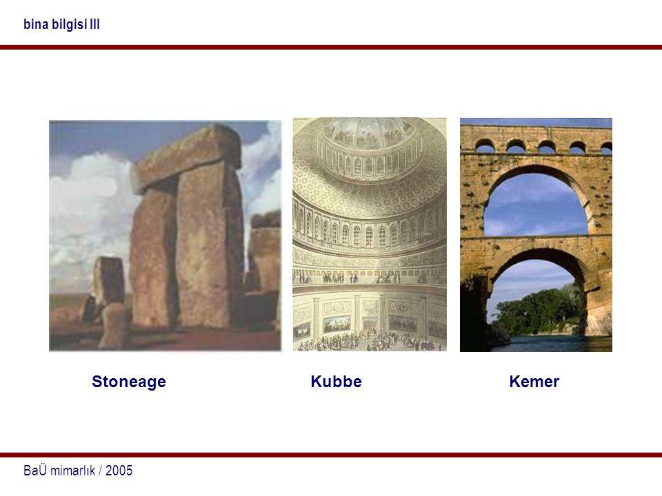 bina bilgisi III Stoneage Kubbe Kemer BaÜ mimarlık / 2005