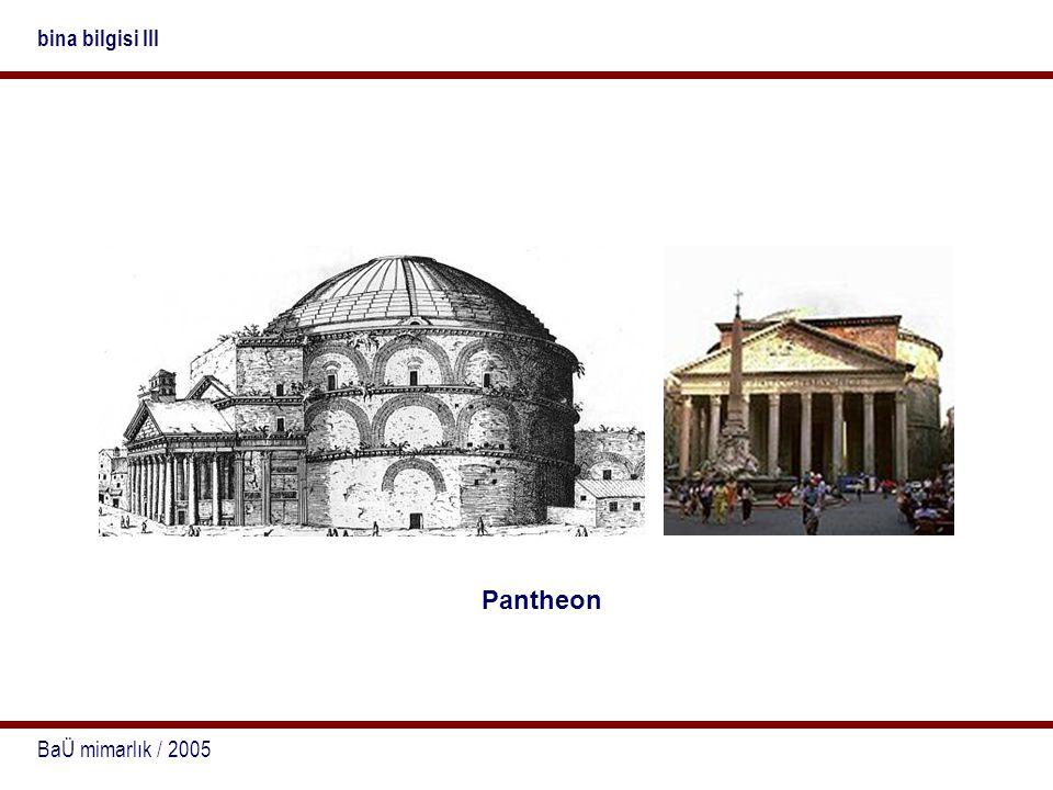 bina bilgisi III Pantheon BaÜ mimarlık / 2005