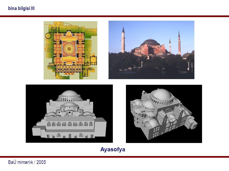 bina bilgisi III Ayasofya BaÜ mimarlık / 2005
