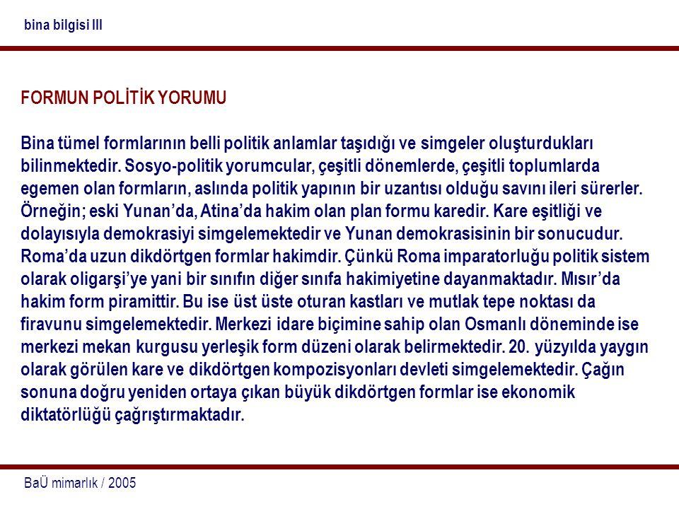 bina bilgisi III FORMUN POLİTİK YORUMU.