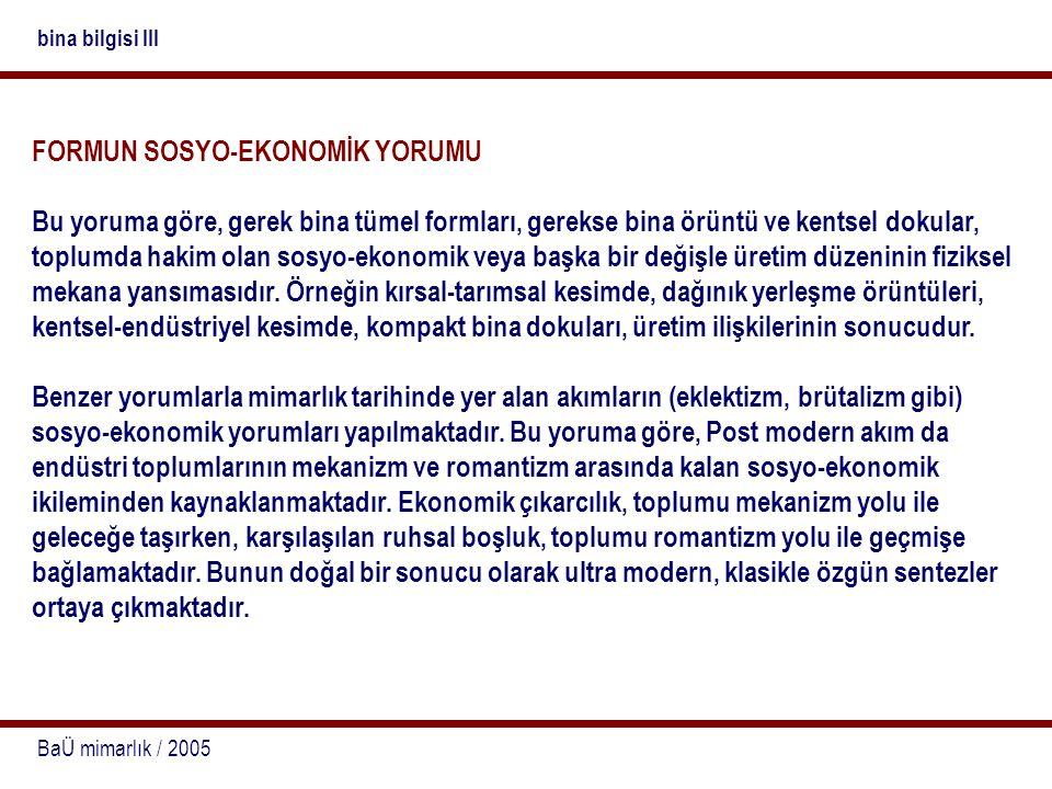 FORMUN SOSYO-EKONOMİK YORUMU