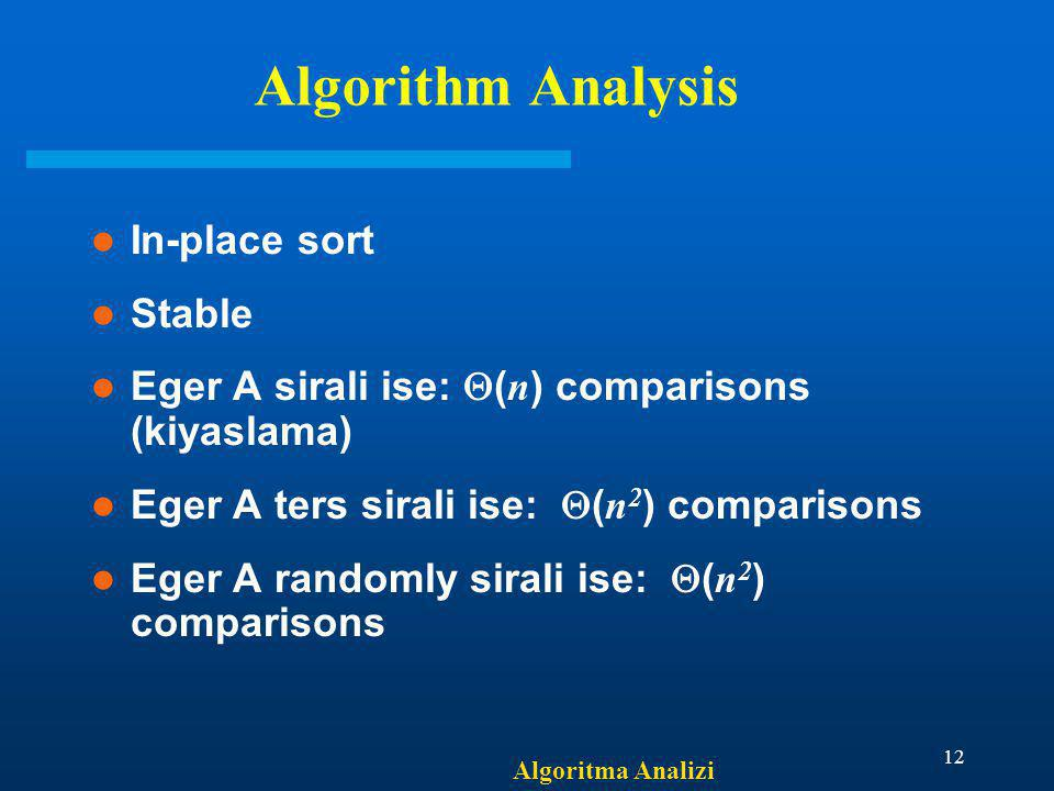 Algorithm Analysis In-place sort Stable