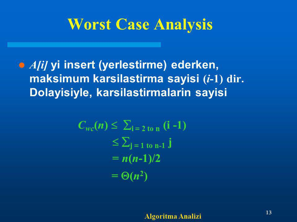 Worst Case Analysis Cwc(n)  i = 2 to n (i -1)