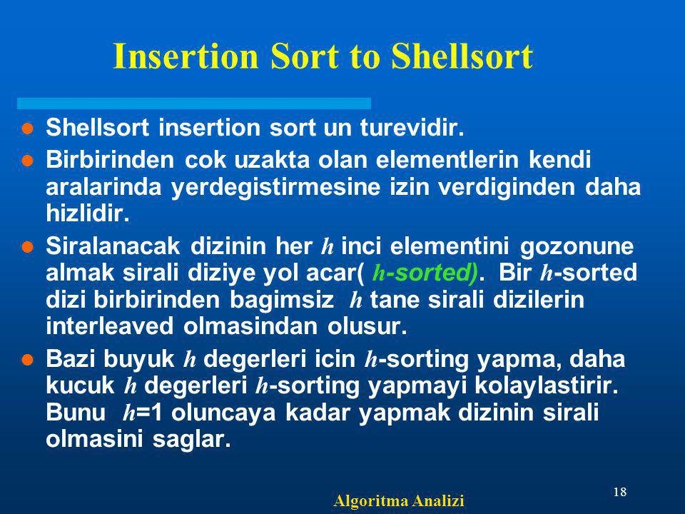 Insertion Sort to Shellsort