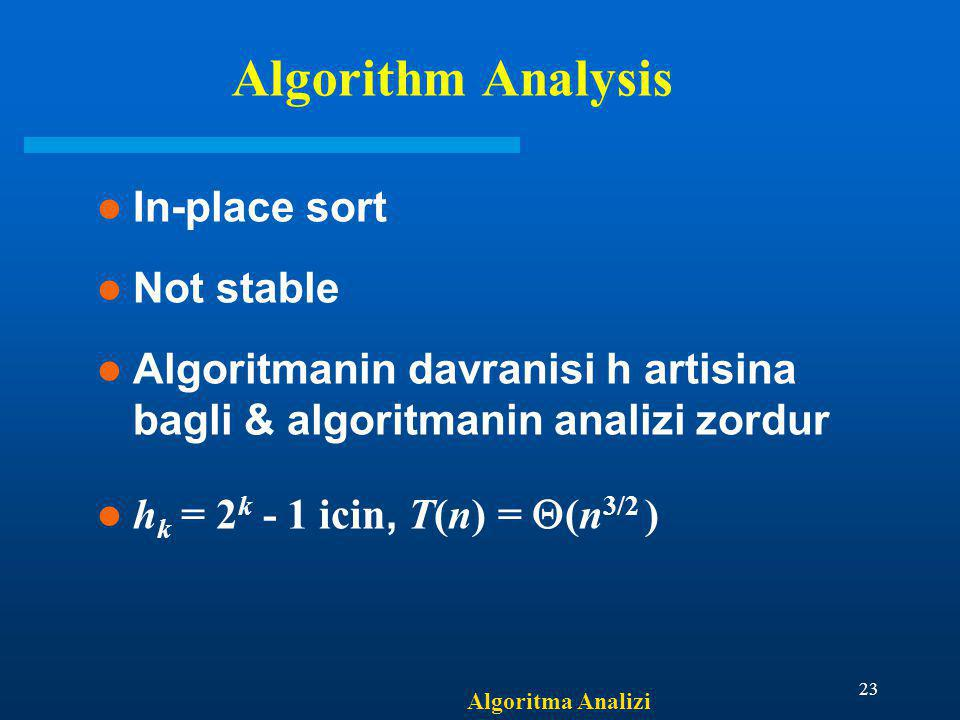Algorithm Analysis In-place sort Not stable