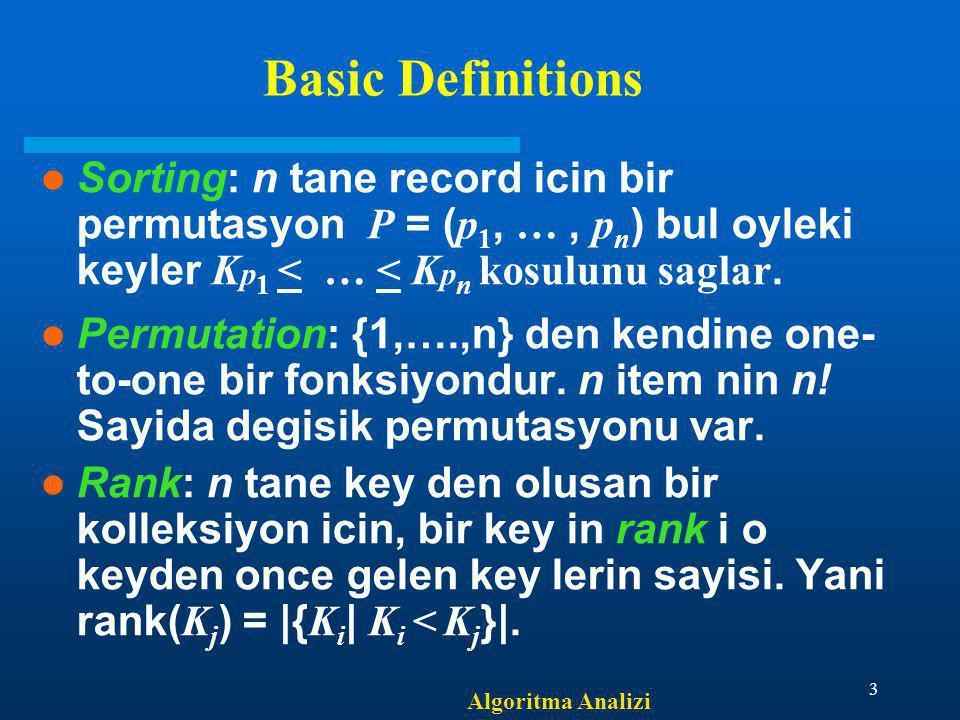Basic Definitions Sorting: n tane record icin bir permutasyon P = (p1, … , pn) bul oyleki keyler Kp1 < … < Kpn kosulunu saglar.