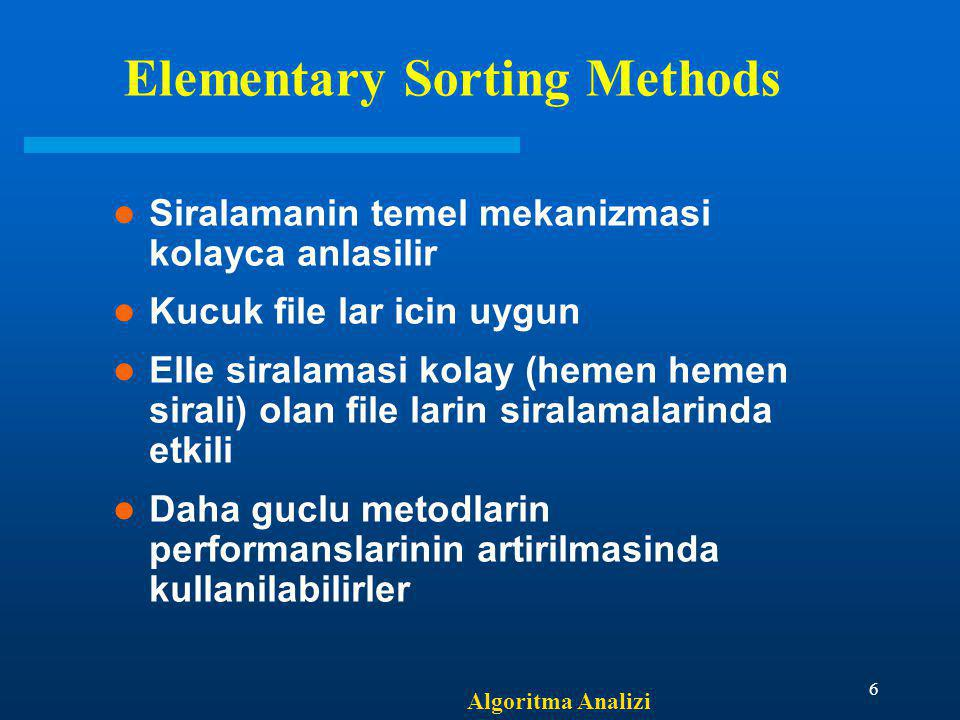 Elementary Sorting Methods