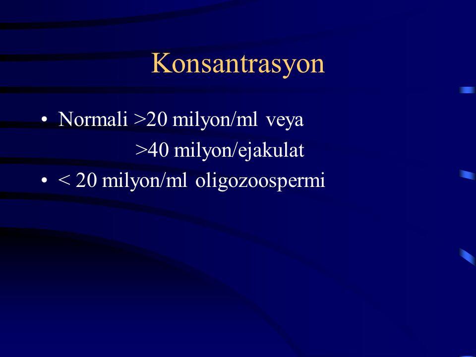 Konsantrasyon Normali >20 milyon/ml veya