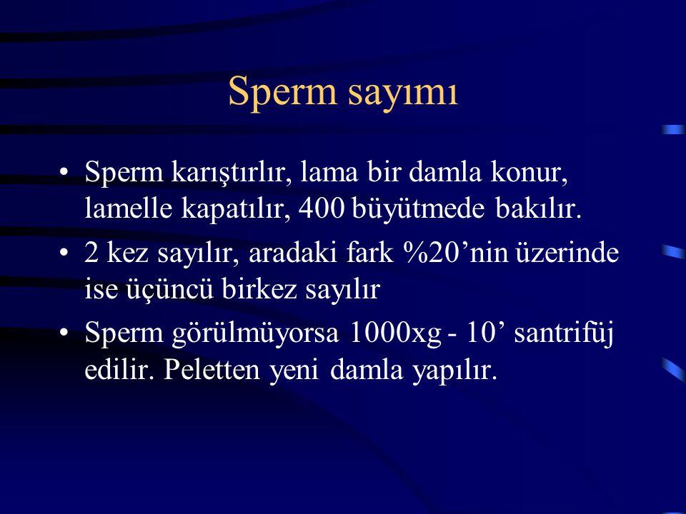 Sperm sayımı Sperm karıştırlır, lama bir damla konur, lamelle kapatılır, 400 büyütmede bakılır.