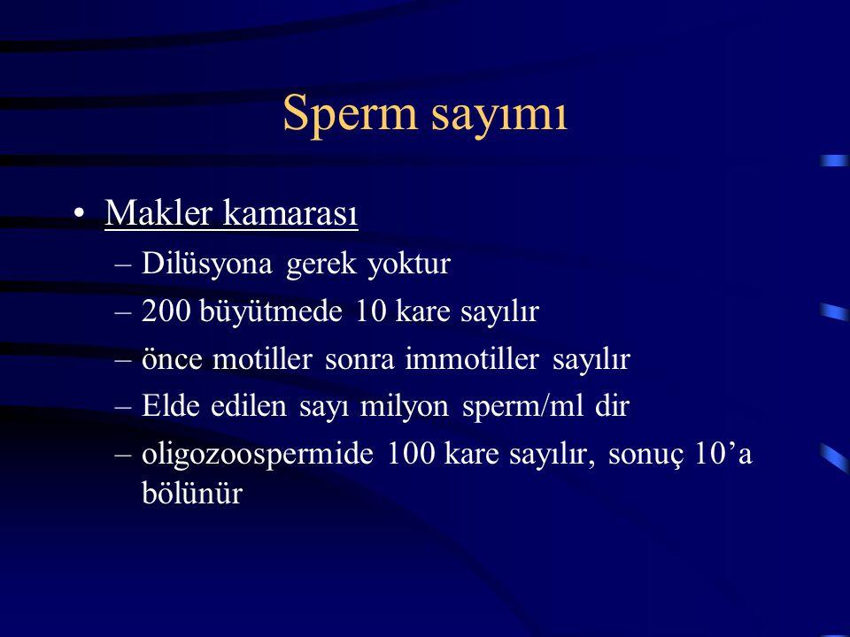 Sperm sayımı Makler kamarası Dilüsyona gerek yoktur