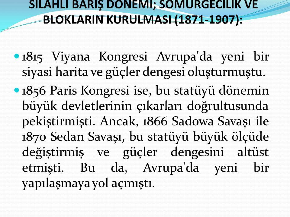 SİLAHLI BARIŞ DÖNEMİ; SÖMÜRGECİLİK VE BLOKLARIN KURULMASI (1871-1907):