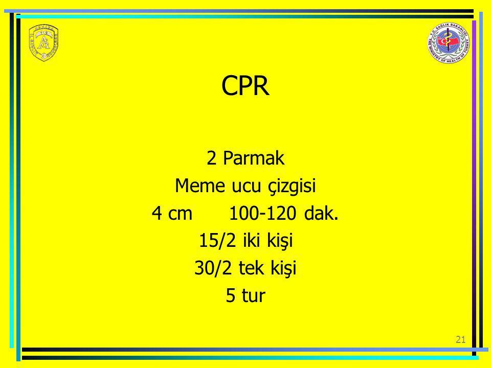 CPR 2 Parmak Meme ucu çizgisi 4 cm 100-120 dak. 15/2 iki kişi