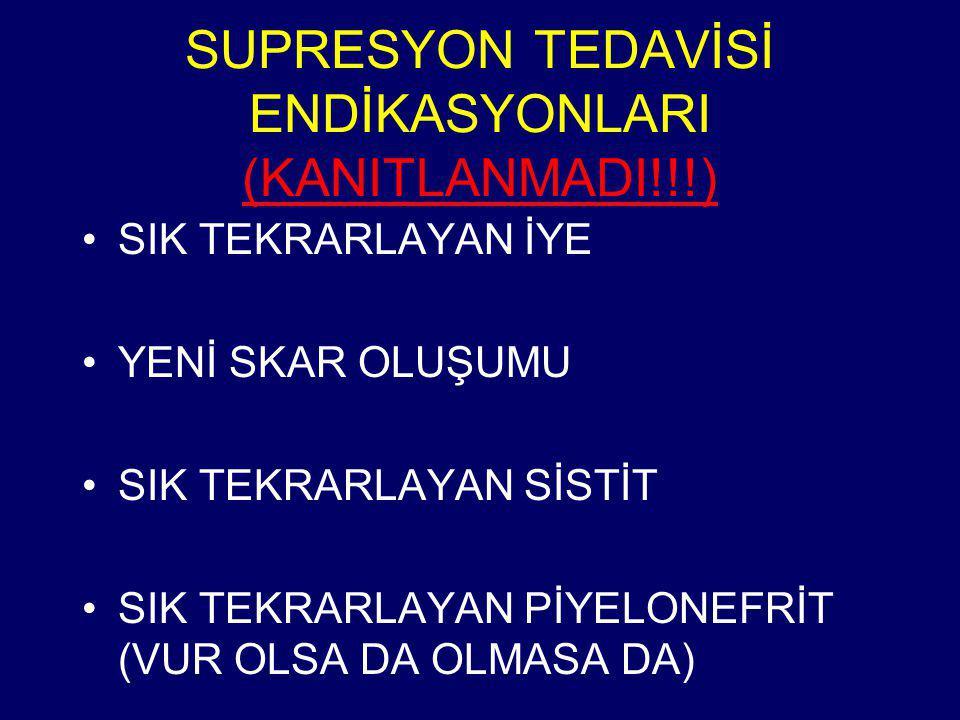 SUPRESYON TEDAVİSİ ENDİKASYONLARI (KANITLANMADI!!!)