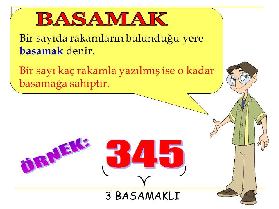 BASAMAK 345 ÖRNEK: Bir sayıda rakamların bulunduğu yere basamak denir.
