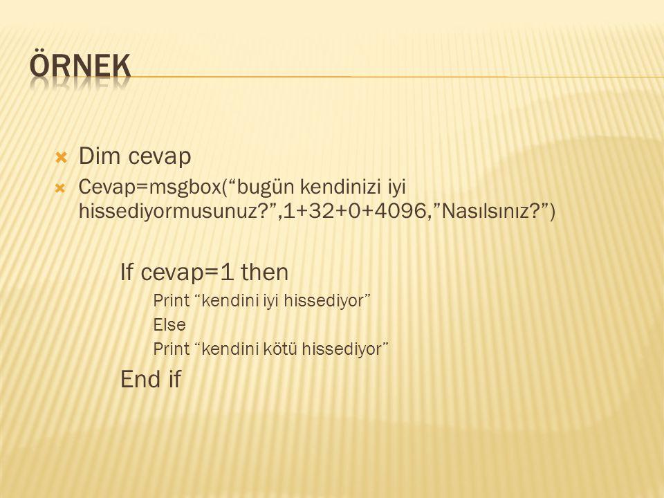 ÖRNEK Dim cevap If cevap=1 then End if