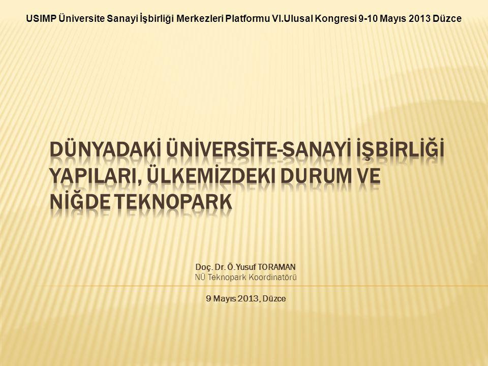 Doç. Dr. Ö.Yusuf TORAMAN NÜ Teknopark Koordinatörü 9 Mayıs 2013, Düzce