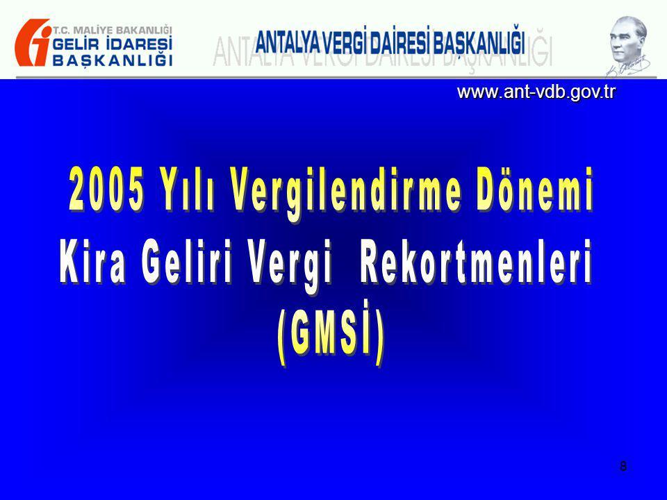2005 Yılı Vergilendirme Dönemi Kira Geliri Vergi Rekortmenleri (GMSİ)