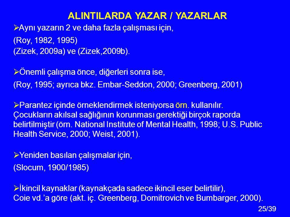 ALINTILARDA YAZAR / YAZARLAR