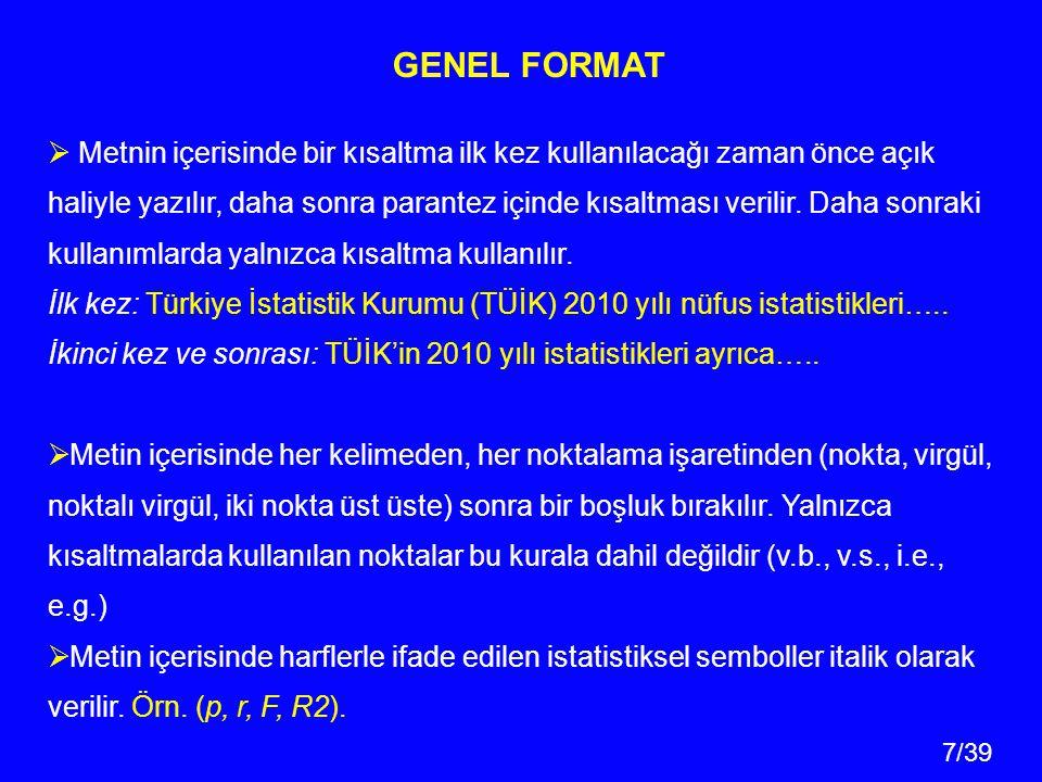 GENEL FORMAT