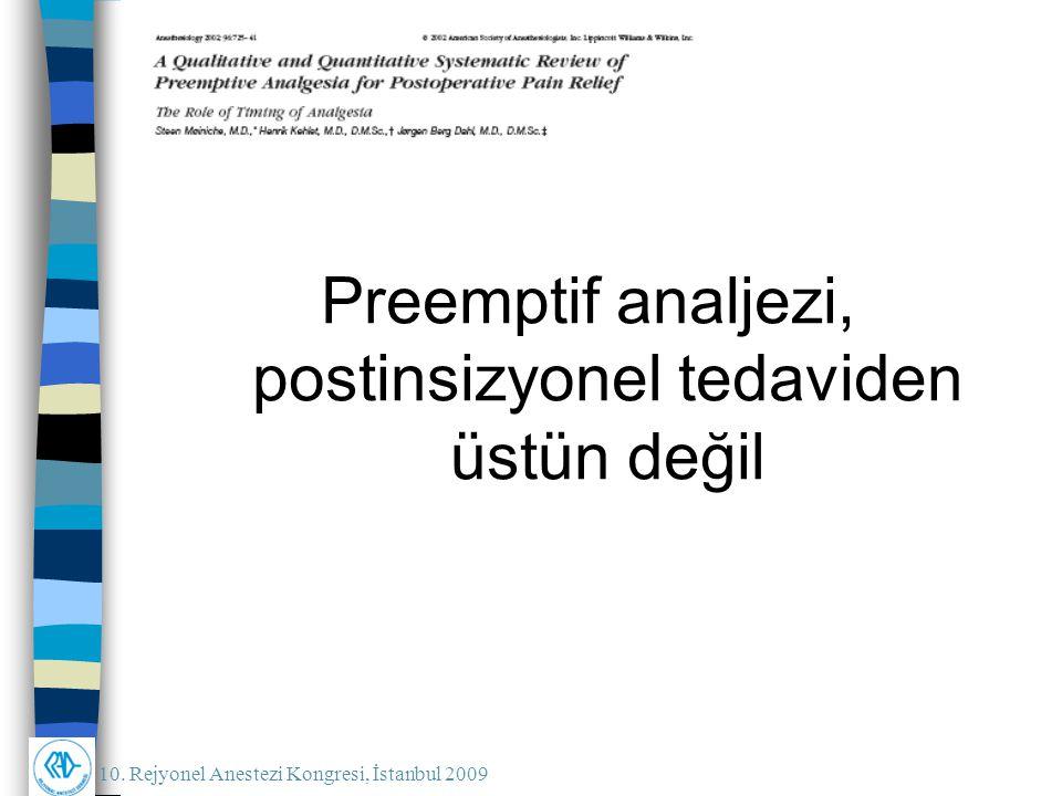 Preemptif analjezi, postinsizyonel tedaviden üstün değil